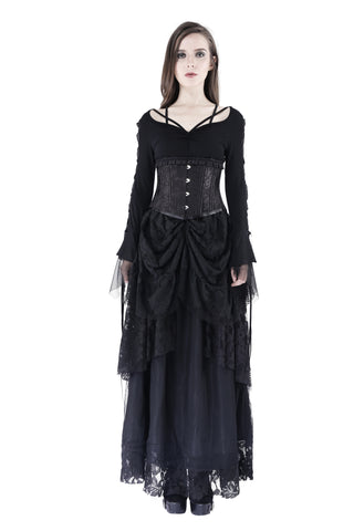 TW148 Gothic T-shirt with half mesh sexy sleeves - Gothlolibeauty