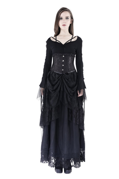 TW148 Gothic T-shirt with half mesh sexy sleeves
