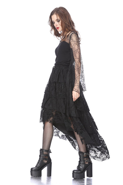 TW152 Gothic characteristic neck T-shirt with spider bat sleeves
