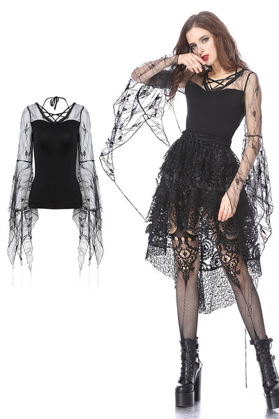 TW153 Gothic T-shirt with transparent flower big sleeves
