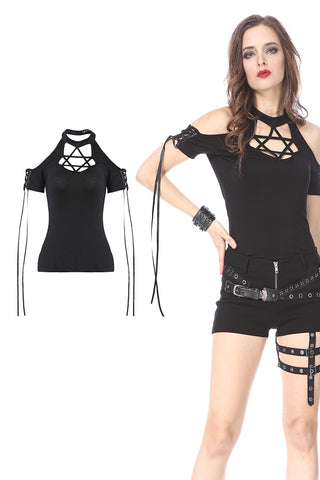Black Gothic Punk star T-shirt Off-the-Shoulder TW154 - Gothlolibeauty