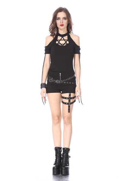 TW154 Black Gothic Punk star T-shirt Off-the-Shoulder