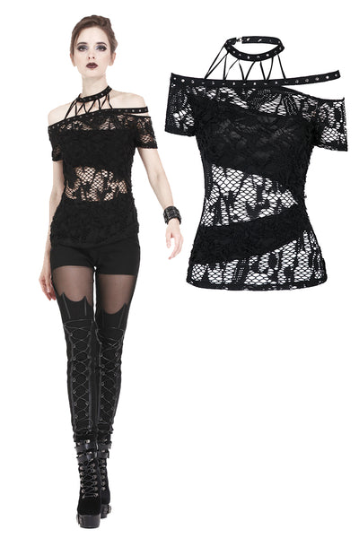 TW156 Punk messy net T-shirt with asymmetric rope desgin