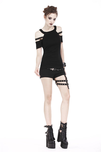 TW158 Punk T-shirt with bound shoulder hollow-out design