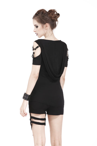 TW160 Punk T-shirt with cap and sexy mesh metal strap waist design