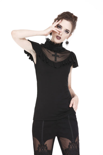 TW161 Gothic cross mysterious short-sleeved T-shirt