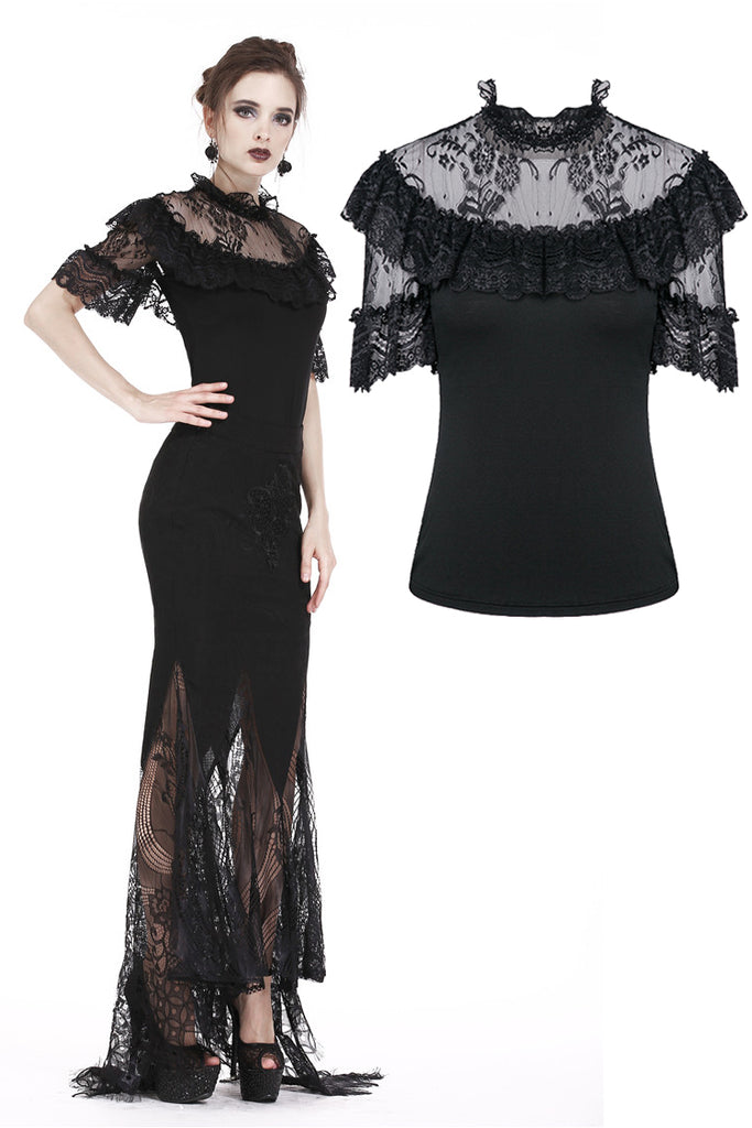 TW162 Gothic sexy lace short-sleeved T-shirt