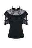 Gothic sexy lace short-sleeved T-shirt TW162 - Gothlolibeauty