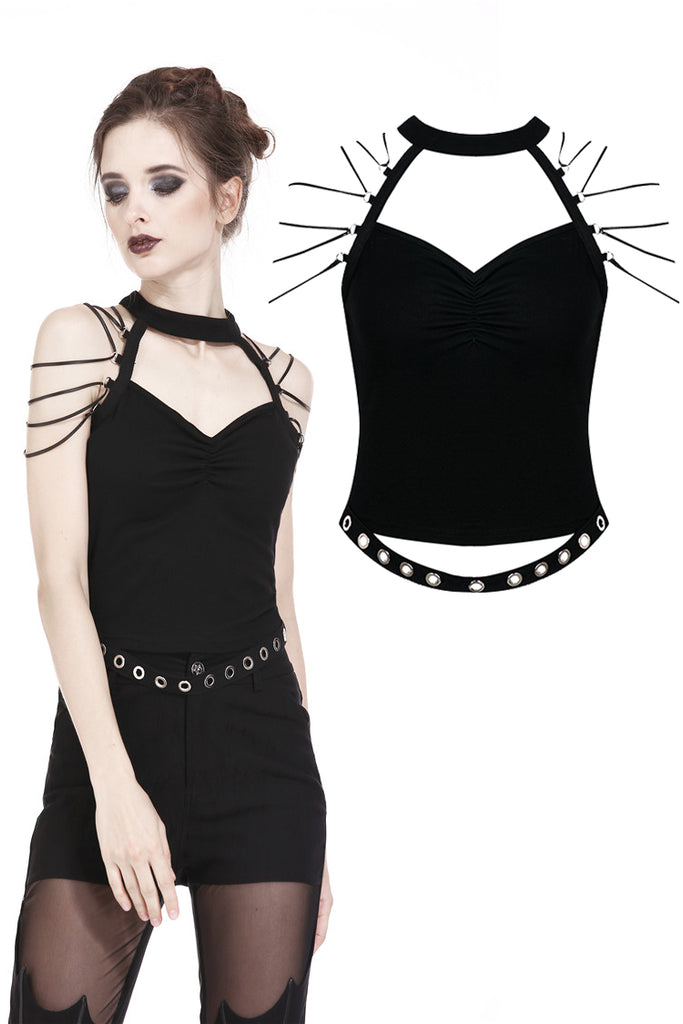 TW164 Punk short sleeveless T-shirt with string shoulder and eyelet on waist