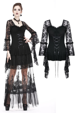TW166 Gothic lace T-shirt with drooping flouncing sleeves - Gothlolibeauty