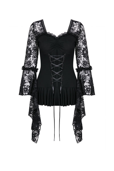 TW166 Gothic lace T-shirt with drooping flouncing sleeves