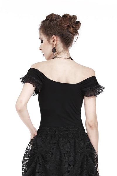 TW167 Gothic knitted T-shirt with crumpled swallow shape shoulder