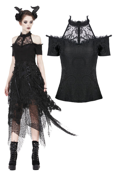 TW168 Gothic off-the-shoulder patterned T-shirt with lace and button row on top