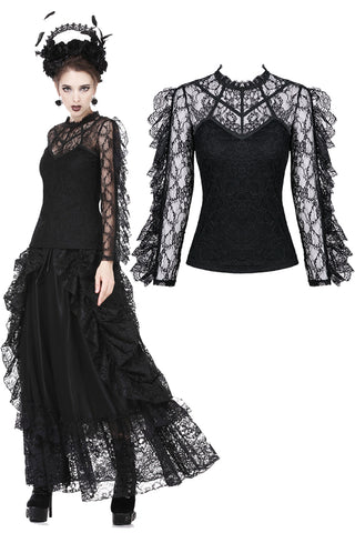 Gothic flouncing long sleeves sexy T-shirt TW169 - Gothlolibeauty