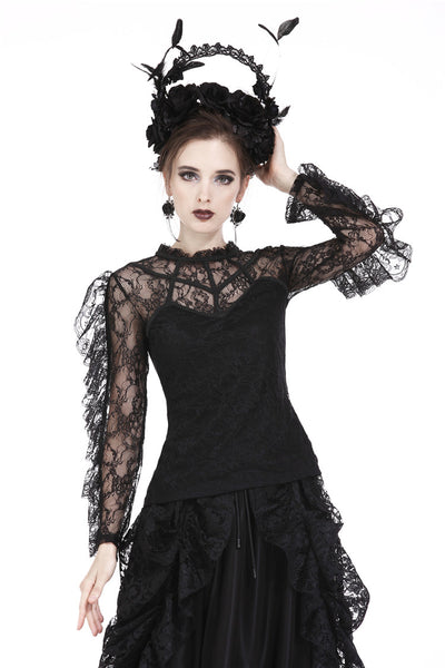 TW169 Gothic flouncing long sleeves sexy T-shirt