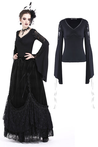 TW171 Sexy gothic fhower hollow and lace-up sleeves T-shirt
