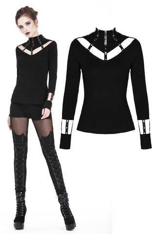 Punk long T-shirt with eyelet  hollow-out collar design TW172 - Gothlolibeauty