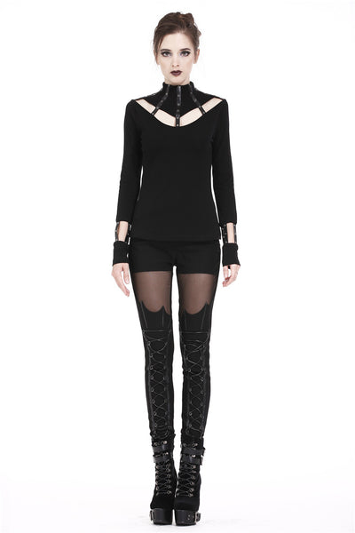 TW172 Punk long T-shirt with eyelet  hollow-out collar design