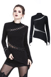 TW174 Gothic sexy lace hollow T-shirt