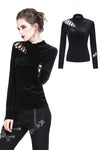 TW177 Punk side lace-up korean velvet T-shirt