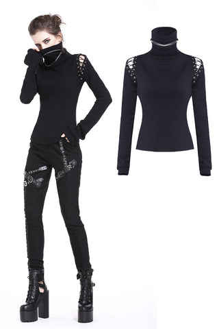 Punk lace-up shoulder vampire collar T-shirt TW178 - Gothlolibeauty