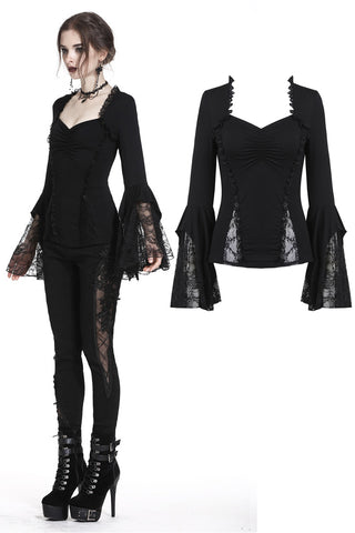 Gothic lacey knitted top with tasseled sleeves TW181 - Gothlolibeauty