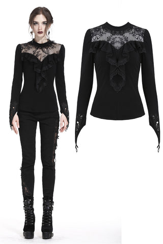Gothic floral lace finger loop T-shirt TW182 - Gothlolibeauty
