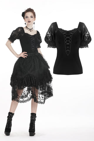 Black lolita lace up chest puff sleeves T-shirt TW209 - Gothlolibeauty
