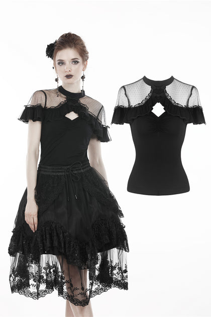 Black lolita sexy shoulders T-shirt TW213 - Gothlolibeauty