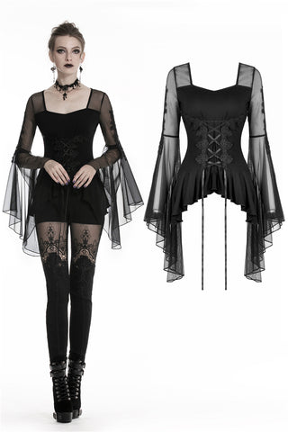 Gothic lace up T-shirt with big mesh flower sleeves TW219 - Gothlolibeauty