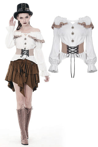Steampunk off-shoulders bandage waist T-shirt top TW246 - Gothlolibeauty