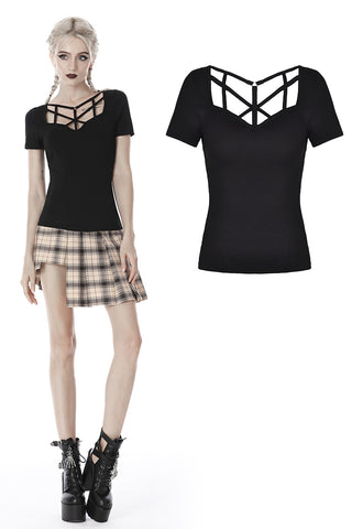 Punk women hollow chest short sleeves T-shirt TW259 - Gothlolibeauty