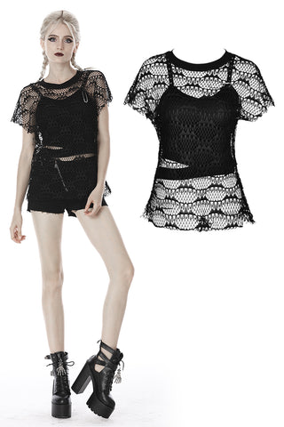 custom made link of Punk net see-through two pcs T-shirt TW261 - Gothlolibeauty