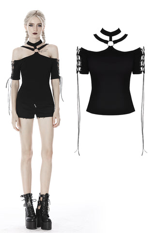 custom made link of Punk off shoulder sexy lace up sleeves T-shirt TW264 - Gothlolibeauty