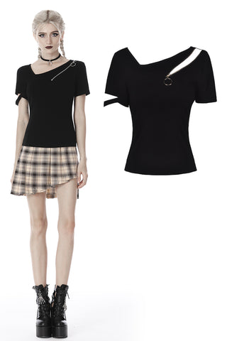 custom made link of Punk irregular zipped hollow short sleeves T-shirt TW265 - Gothlolibeauty