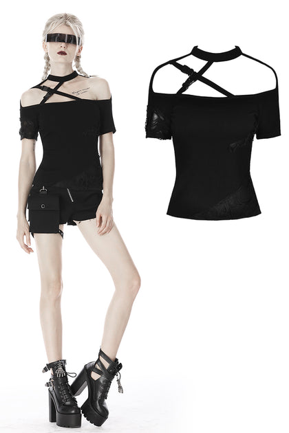 custom made link of Punk intersect chest splicing ragged T-shirt TW268 - Gothlolibeauty