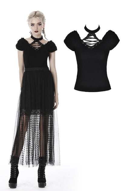 Gothic lace up V collar short sleeves T-shirt TW283 - Gothlolibeauty