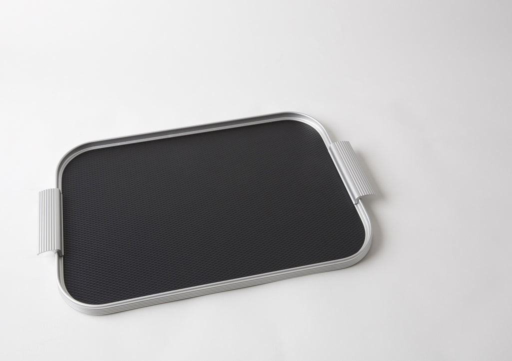 Ribbed Tray S16 Silver + Black