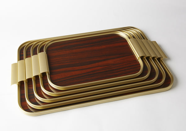 Ribbed Tray S16 Gold + Rosewood