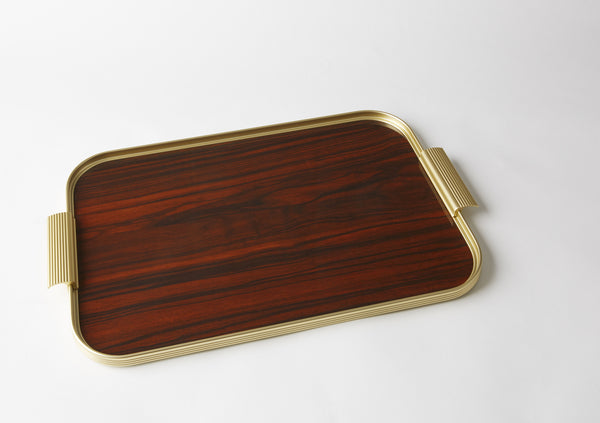 Ribbed Tray S18 Gold + Rosewood