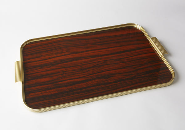 Ribbed Tray S22 Gold + Rosewood