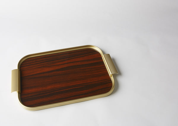 Ribbed Tray S14 Gold + Rosewood