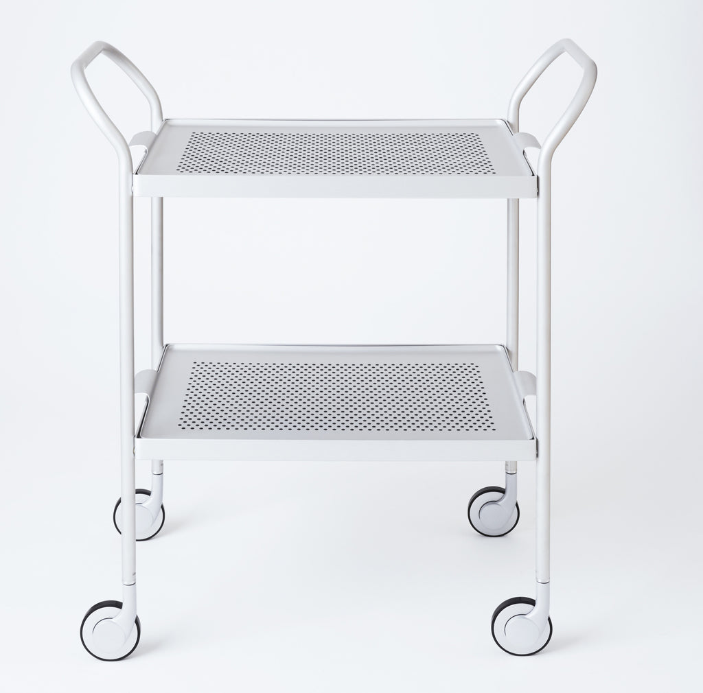 Modern Trolley Silver with Rubber Grip Trays