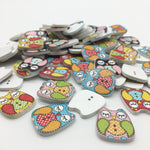 Stitched Owl Buttons - Pack of 6