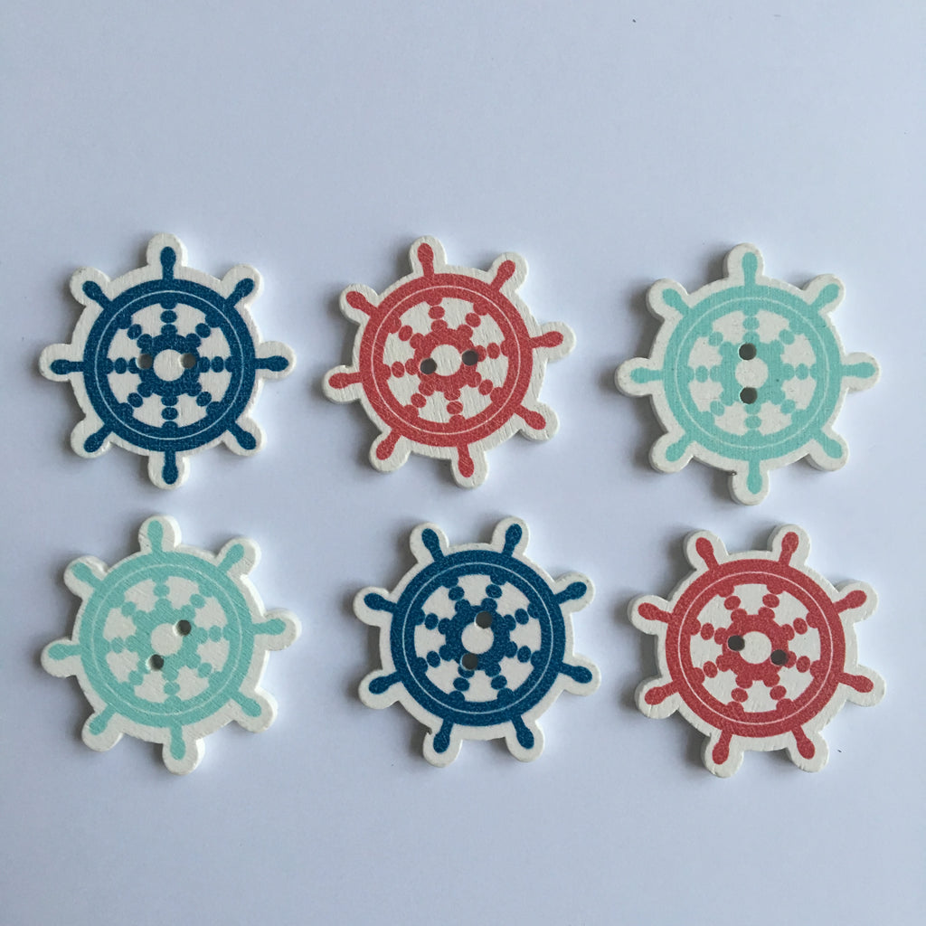 Ship Wheel Buttons - Pack of 6