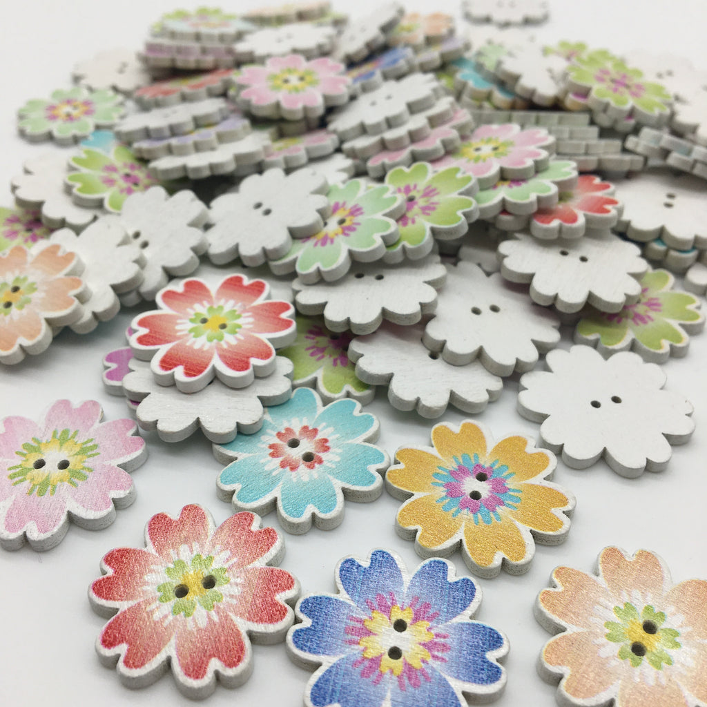 Flower Buttons - Pack of 6