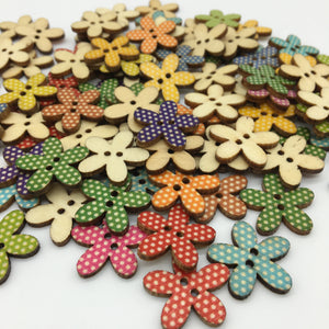 Polka Dot Flower Buttons - Pack of 8