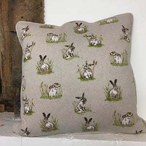 Linen Look Cushion Cover - Hares