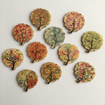Watercolour Tree Buttons - Pack of 6