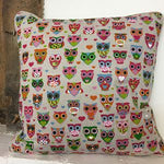 Linen Look Cushion Cover - Owls
